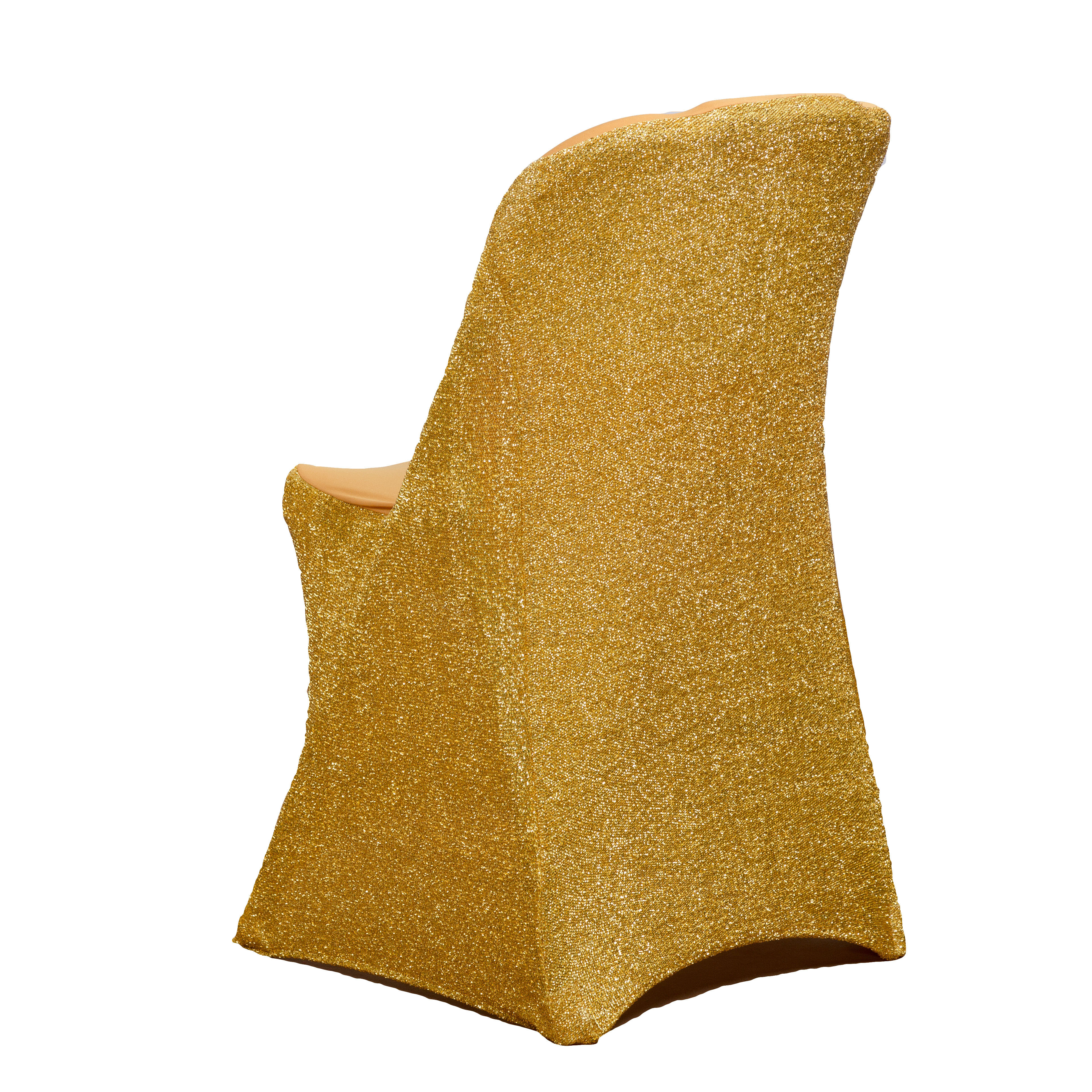 cheap shiny sequin gold wedding folding chair covers 100