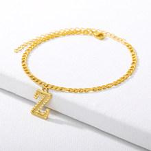 Начальный ножной браслет из нержавеющей стали A-Z Алфавит ножной браслет для женщин столичный ножной браслет Алфавит ножной браслет рождест...(Китай)