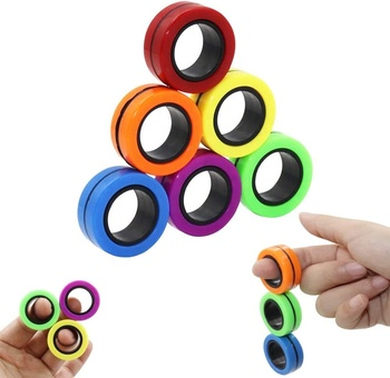 Magnetic Rings Fidget Toys, Professional Fidget Spinner Stress Relief Rings Props, Colorful Training Relieves Reducer Toy