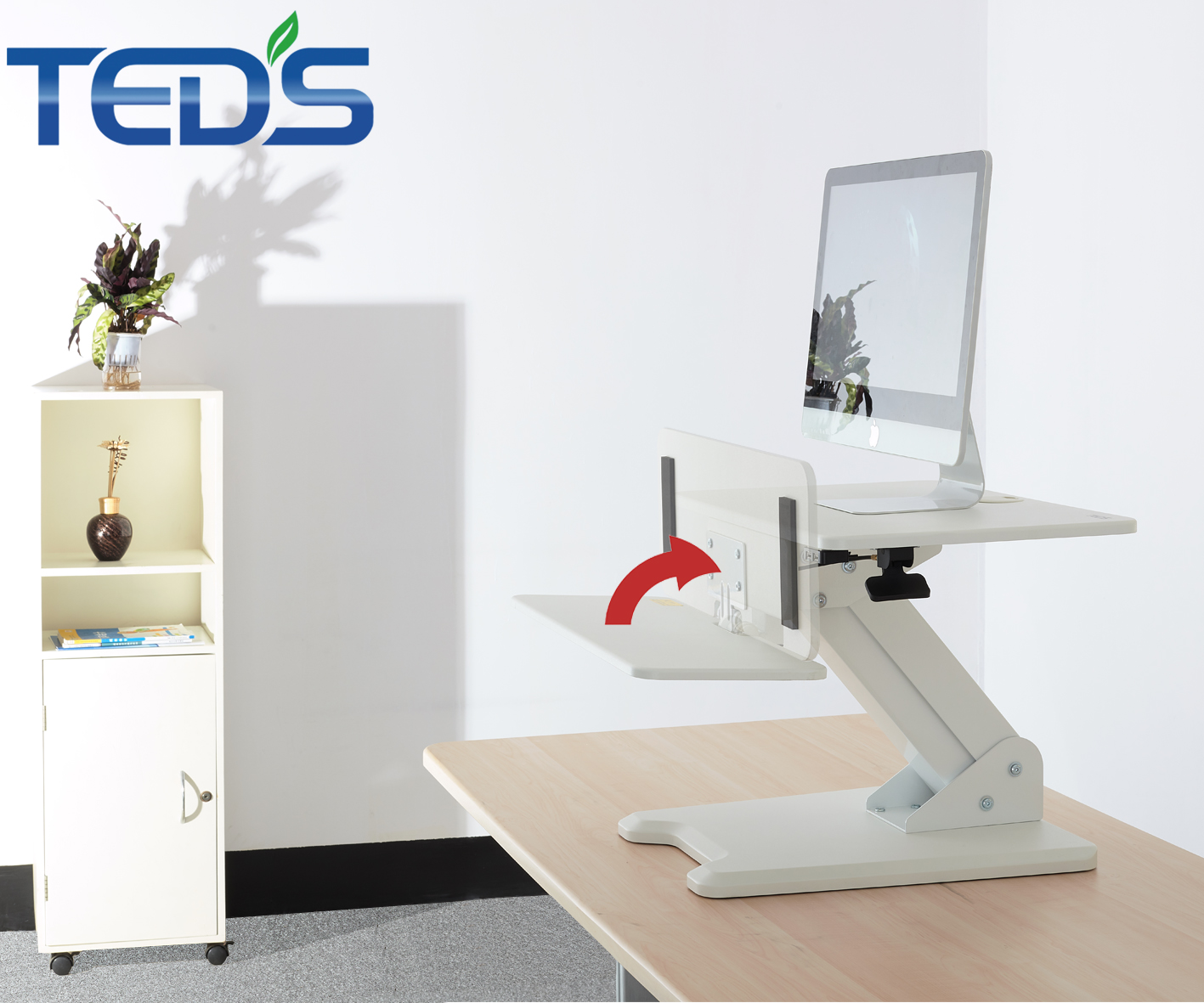 Pneumatic adjustable height sit to stand workstation computer desk