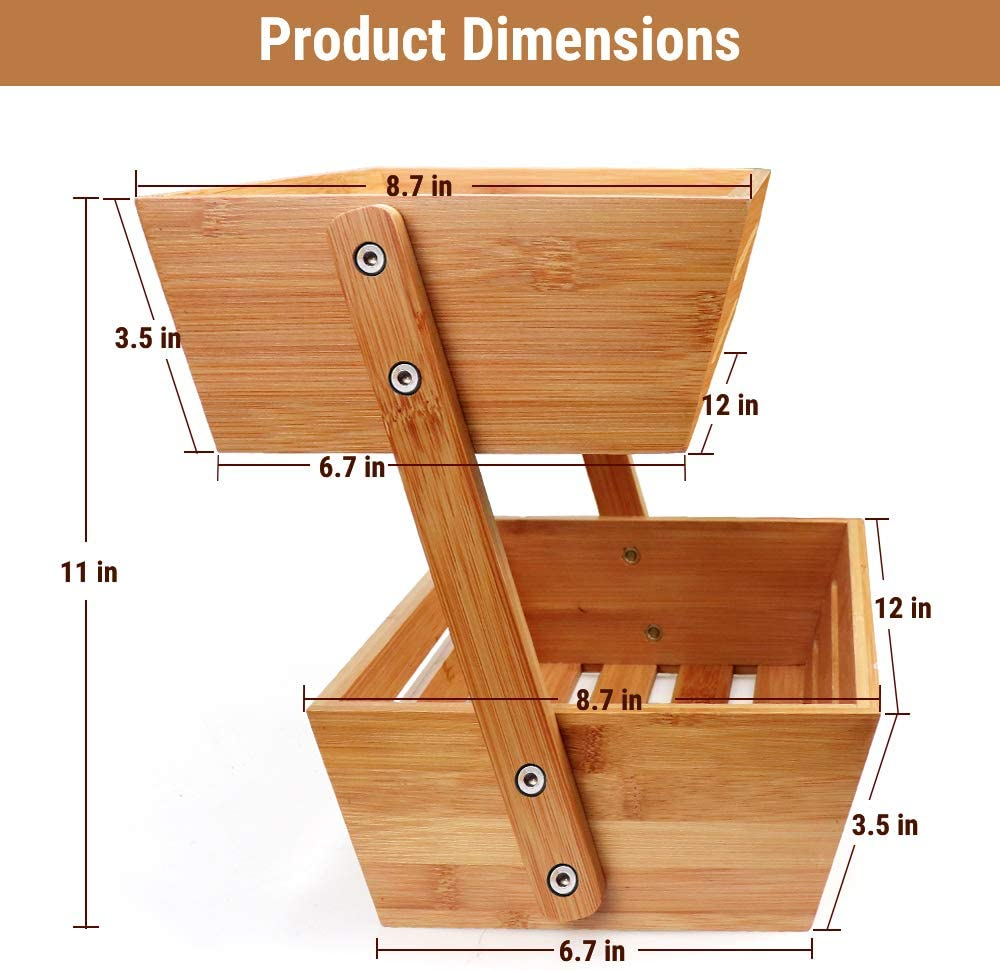 Best Seller 2-Tier Bamboo Bread Vegetable Fruit Basket Rack Stand Holder Bowl for Kitchen Counters