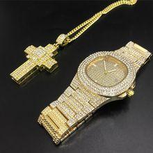 Роскошные мужские часы с золотым бриллиантом, мужские часы и браслет, комбинированный набор, хип-хоп ювелирные изделия, стильные, ледяные, к...(Китай)