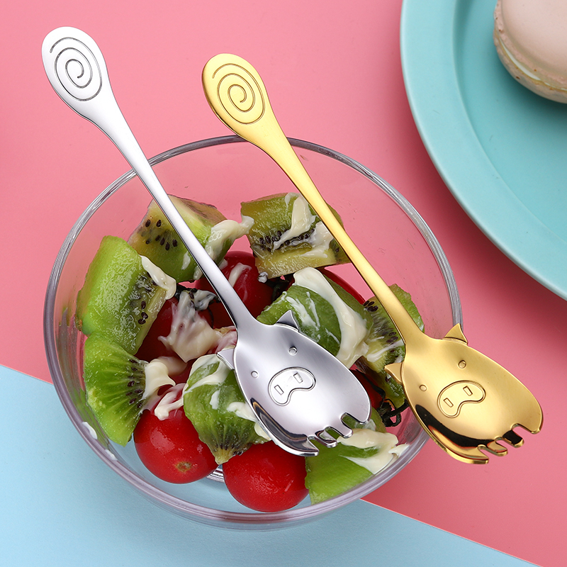 Spoons and Fork for Salad Dessert Creative Spoons Piggy Style 304 Stainless Steel Cute for Kids Accepatable Normal Size