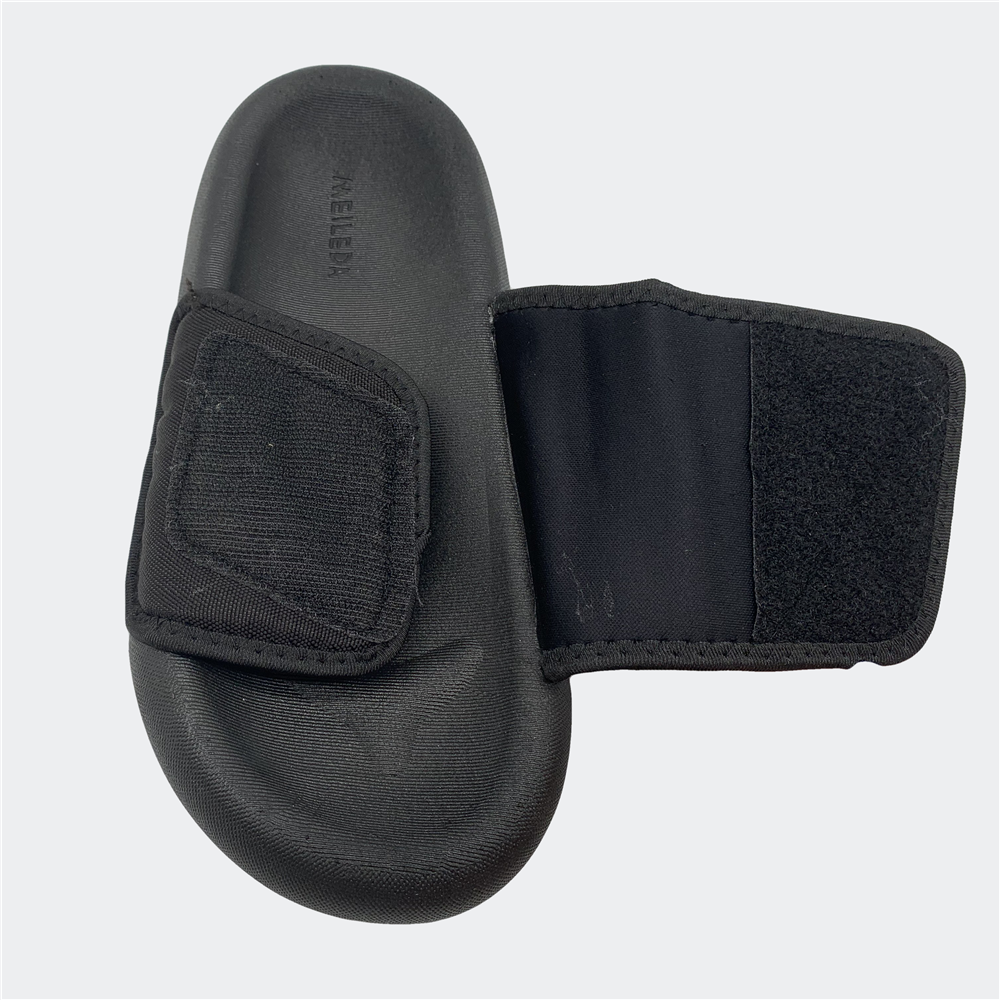 open toe platform forefoot strap with fabric hook and loop canvas upper Grey puff yeezy men Slippers slides