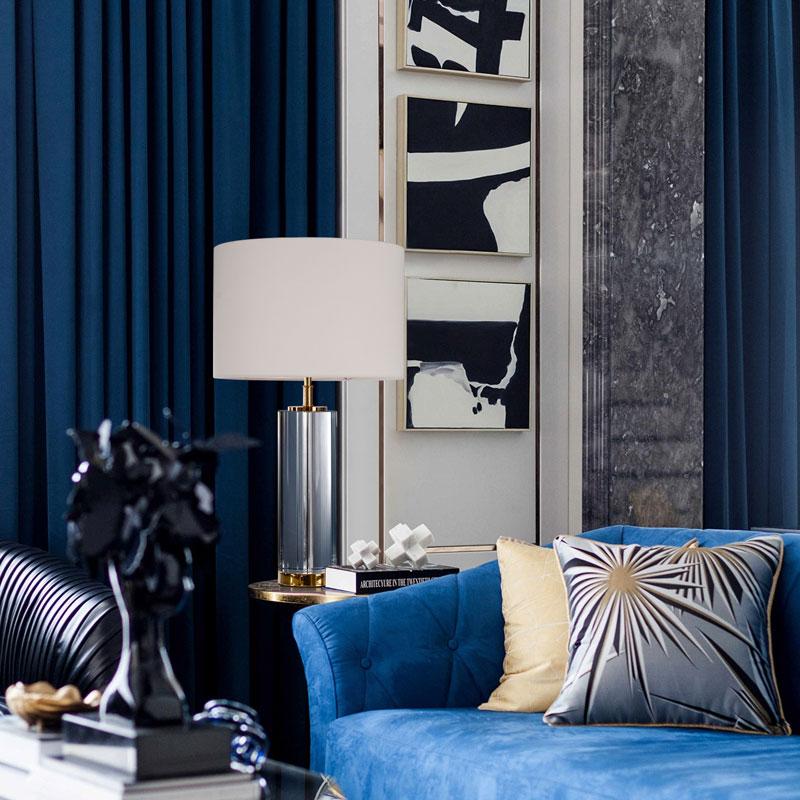 Роскошный тканевый абажур K9, однотонная Хрустальная прикроватная настольная лампа для украшения дома, гостиничного номера, световая лампа