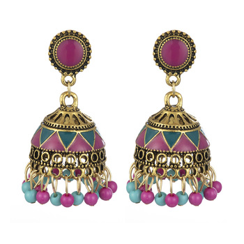 Bohemian Indian style alloy bell vintage palace dripping oil ethnic style earrings direct supply from manufacturers