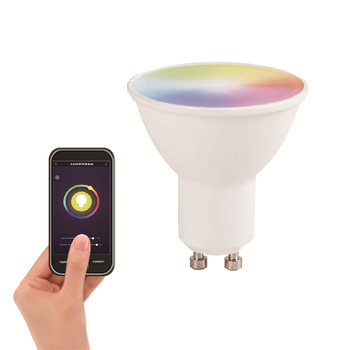 AC/DC 12V 5W RGB GU10 MR16 Dimmable Light Bulb Fixture Natural White and CCT Adjustable WIFI Smart LED Bulb MR16