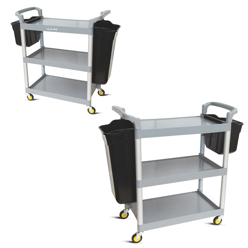 Amazon Hot Sale 3 Tiers Plastic Restaurant Servicing Cart with Four wheels Food Servicing folding Trolley Cart for Hotel