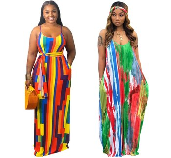 Women Fashion Tie-dye Colorful Print Hanging Bandwidth Loose Dress Plus Size Girl Casual Elegant Maxi Apparel