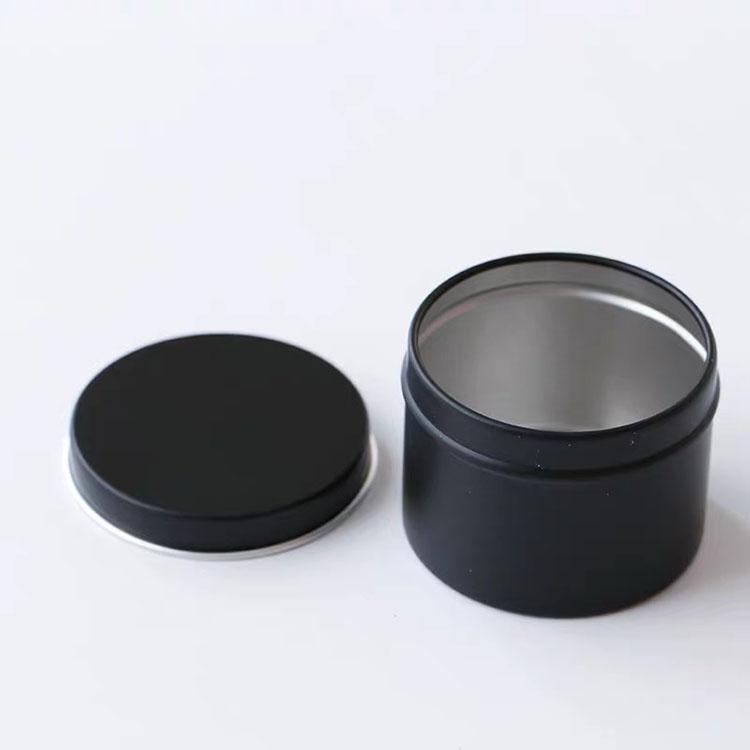Customized Round 85G Vintage Travel Soy Wax Candle Tin Matt Black