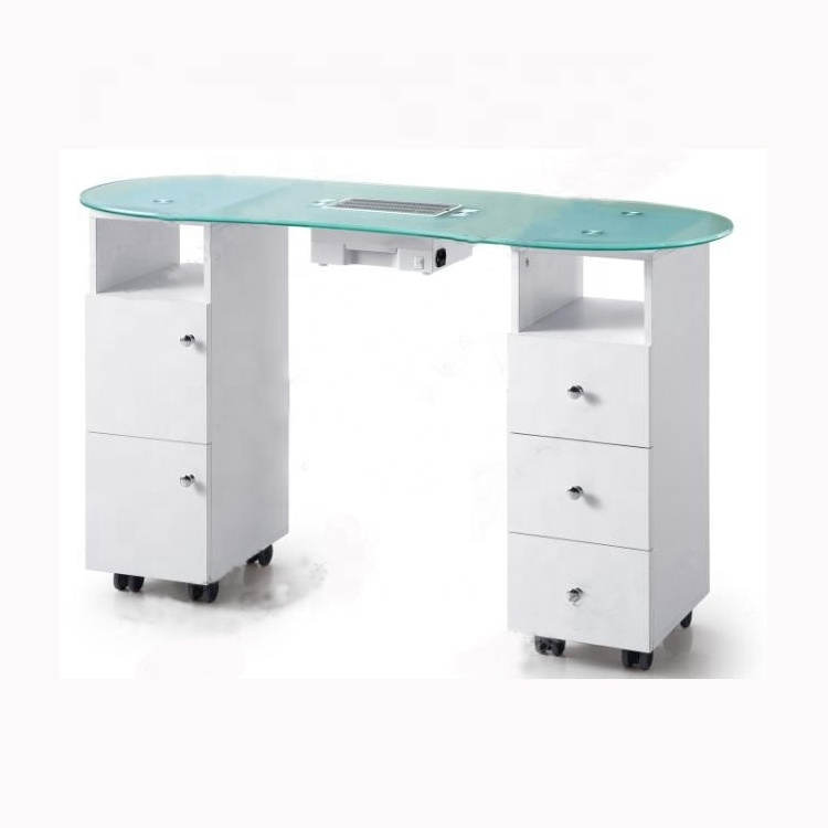 Hot Sale Glass Top Manicure Tables Desk Nail Table With Collected Fan Buy Product On Alibaba Com
