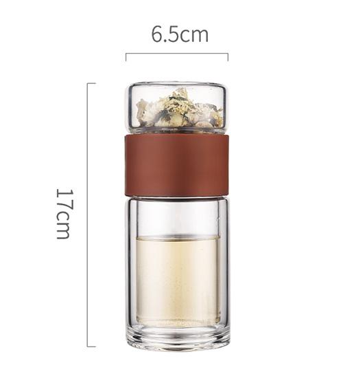 Стеклянная бутылка для воды с фильтром для заварки чая 200 мл, двойная настенная стеклянная бутылка, герметичная моя бутылка для воды, мужско...(Китай)