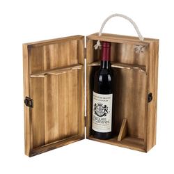 Лидер продаж, двойная винная коробка из коричневого дерева, антикварная подставка с откидной крышкой, Подарочная коробка для винных аксессуаров
