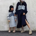 Korean style hooded long family tops casual fleece mommy and me sweatshirts