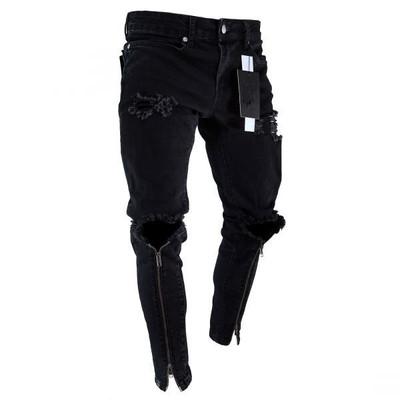 Hollow Out Stretchy Ripped Skinny Biker Jeans Taped Slim Fit Denim Pants motorcycles wrinkles Bermuda pants Knee Hole Jeans Man