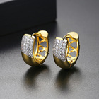 Hoop Fashion Gold Color Clear Stud Earrings Paved Micro A AA Cubic Zircon Ear Hoop Jewelry For Women
