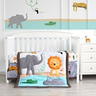 Bed Cartoon Animal Elephant Lion 100% Cotton Organic Cot Newborn Boy Nursing Bed Set Baby Crib Bedding Set
