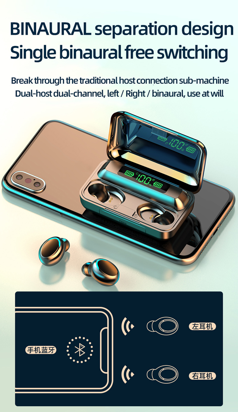 2000 мАч Power Bank Ipx7 водонепроницаемый бинауральные вызова 5,0 True In-Ear F9 F9-5c F9-5 наушники-вкладыши TWS Беспроводная гарнитура наушники