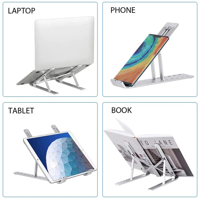 2021 Newly portable foldable macbook notebook laptop holder table metal adjustable height aluminum laptop stand