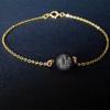 10MM Black Obsidian MM Red Jasper + Gold Chain