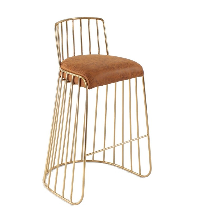 leisure fancy gold metal luxury dining gold stainless steel frame brass counter height Bride's Veil Barstool