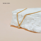 Pendant Made 14k Necklace Mercery Brand Logo 14K Solid Gold Pendant Ladies Necklaces Luxury Love Jewlery Necklace Made With Real Gold White Diamond