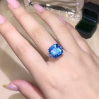 Silver Color Customized Color Fashion Zircon Crystal Rings Womens Silver Color Wedding Ring Set Lover Jewelry