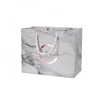 2020 hot sale cute custom Rose Gold marble boutique gift paper shopping bags with logo printed
