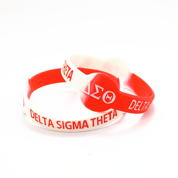 Custom Shape Promotional Gifts Greek letter red Silicone Wristband Bracelets