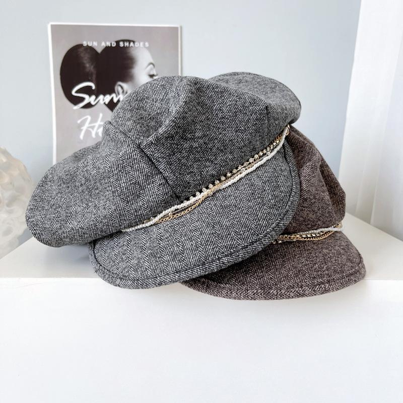 ready to ship fashion Women cotton Herringbone Octagonal Hat Newsboy hat Cabbie Baker Boy Peaked Beret hat with diamond chain
