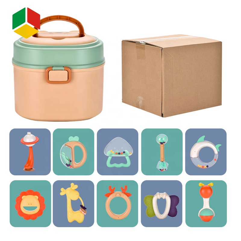 QS Toys 10 PCS Set Storage Gift Box Safety Plastic Hand Bell Baby Rattle Silicone Teether Set Toy For Newborn Toy