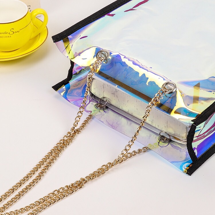 Rainbow holographic customised plastic tote bag printed shopping bags plastic neon euro tote