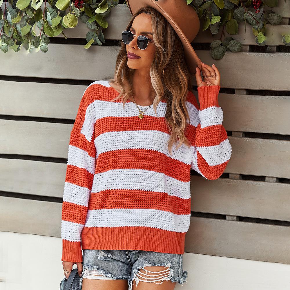 Повседневный свитер в полоску осень-зима 2021 теплая шерстяная блузка женские топы Модные