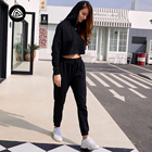 Print Black Hoodie Wholesale Women Fashion Custom Logo Print Black Sports Shirts Long Sleeve Gym Crop Pullover Hoodie Sweatshirt