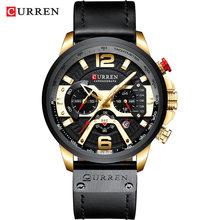 Спортивные часы CURREN для мужчин, повседневные часы синего цвета из 8329 кожи, модные наручные часы с секундомером(Китай)