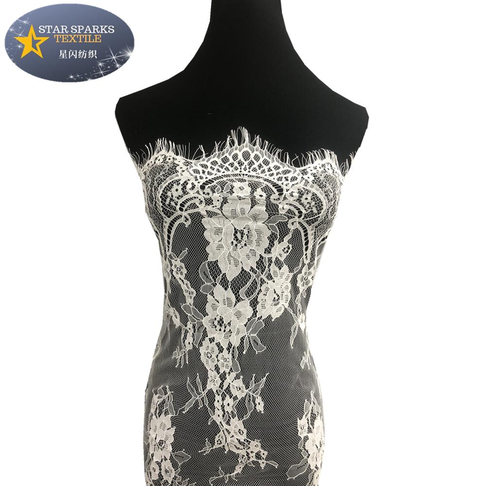 Best-sale black chantilly fabric nightwear materials Eyelash lace fabric