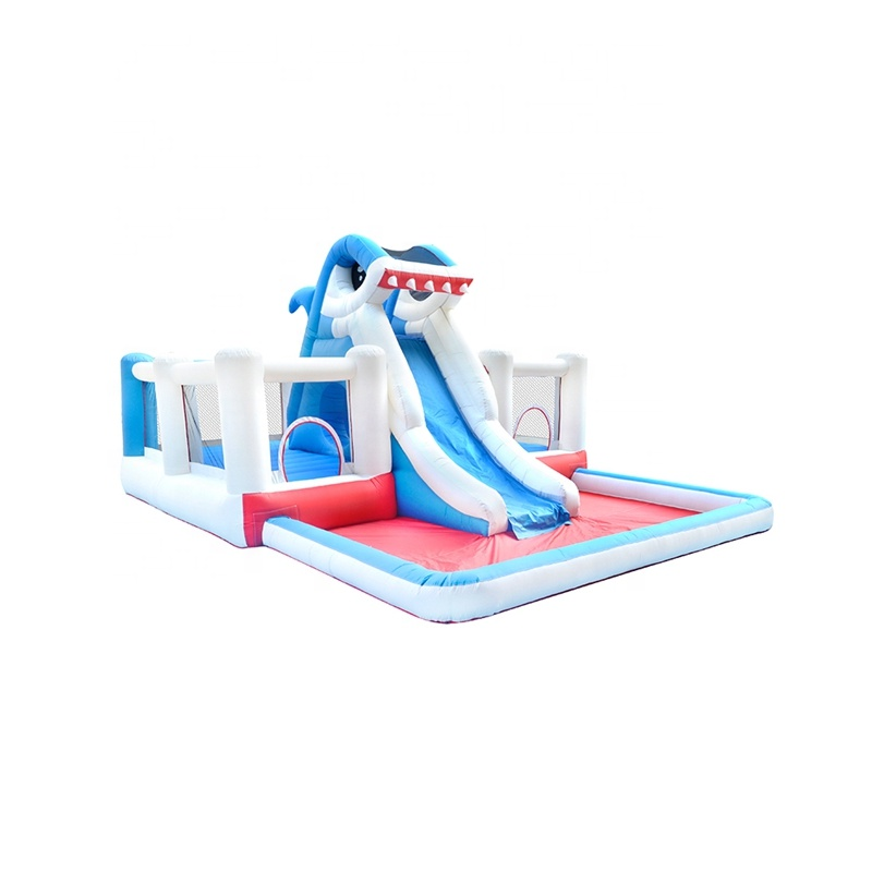 Commercial Adults Giant Bouncy Castle Grade Shark Inflatable Water Slide Park with Pool