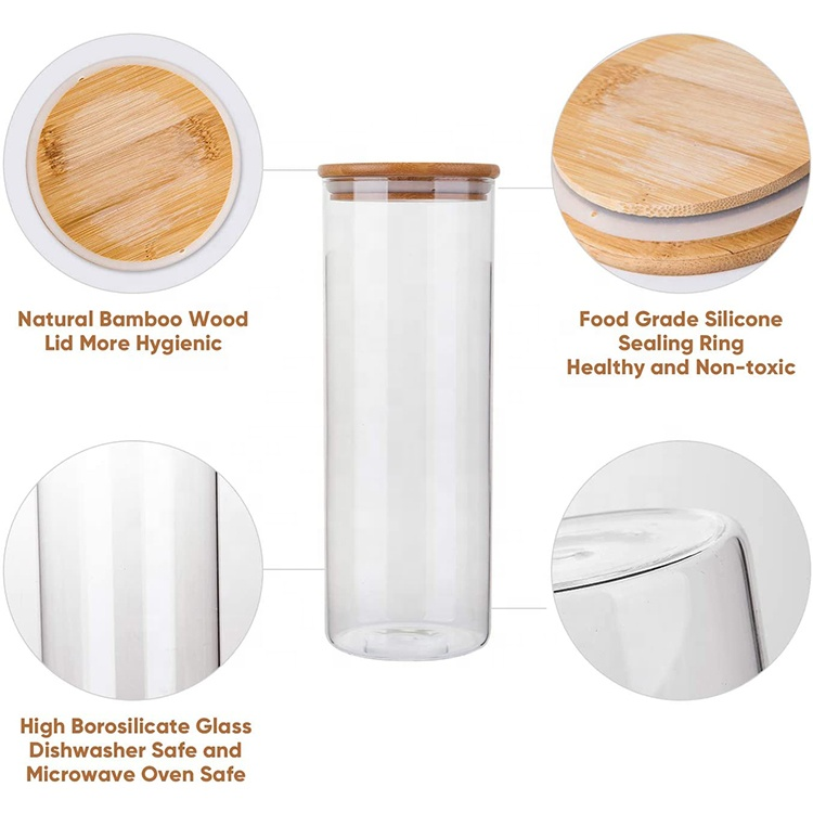 Borosilicate glass storage jar with bamboo wooden lid tube shaped airtight glass container for food Multigrain nut tea leaves