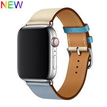 Кожаный ремешок для часов apple watch, ремешок iwatch, 5, 4, 3, 2, 44 мм, 40 мм, 42 мм, 38 мм(Китай)