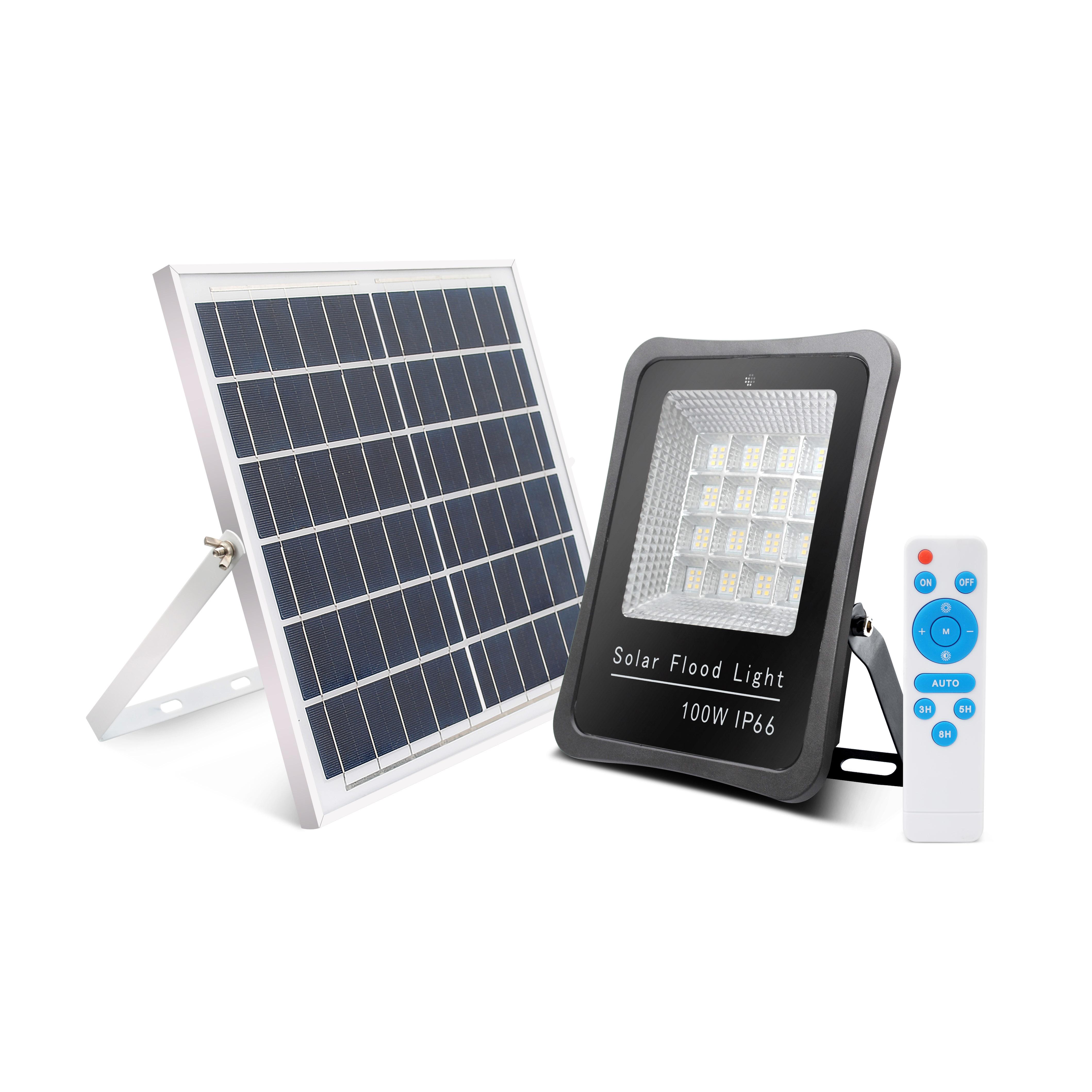 Outdoor Waterproof sensor 100watt solar IP66 led solar powered flood light price
