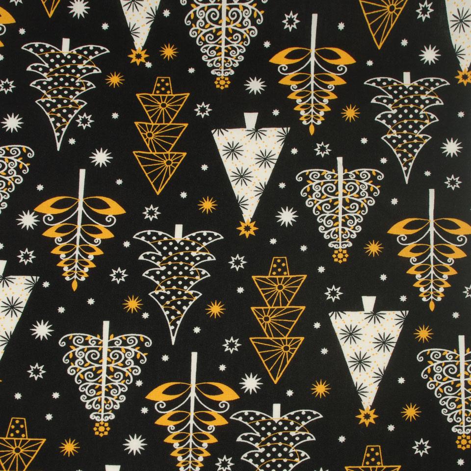 Black white yellow top design christmas printed cotton fabric for mask garment
