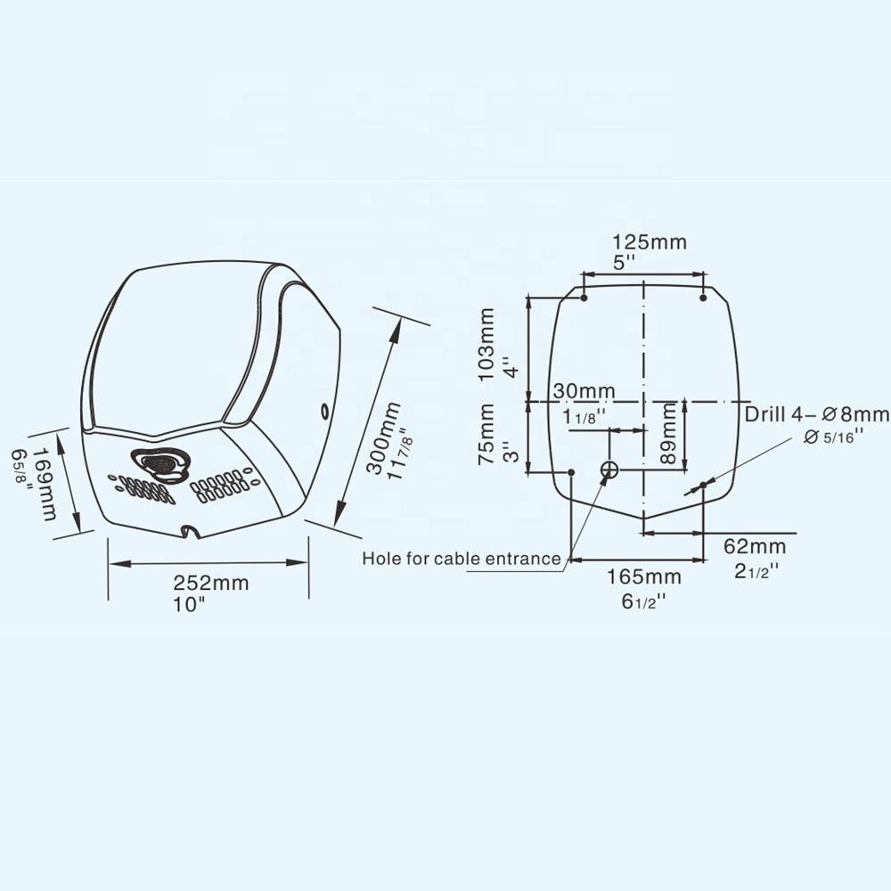 Новые высокоскоростные автоматические сушилки для рук из нержавеющей стали с бесщеточным двигателем постоянного тока и настенным креплением CE RoHS