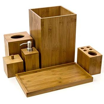 Hot sale bamboo with ceramic bathroom accessory set bamboo bathroom suit