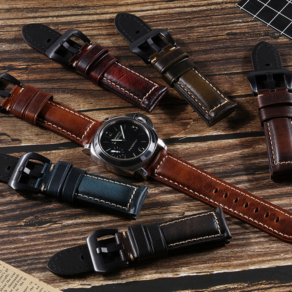 OEM Custom wholesale men Italian vintage genuine Leather Watch Band strap