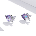 Zircon Earrings Zirconzircon S925 Earring S925 Sterling Silver Happy Little Fish Colored Zircon Earrings