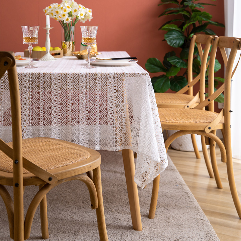 T016 French lace tablecloth brocaded cotton hollow white corrugated tea table tablecloth and table cloth