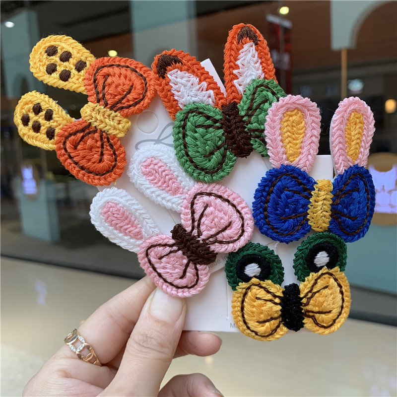 Free Shipping MIA Cute knitted rabbit fox ear frog BB clip simple side clip ins Internet celebrity sweet hairpin hair bow