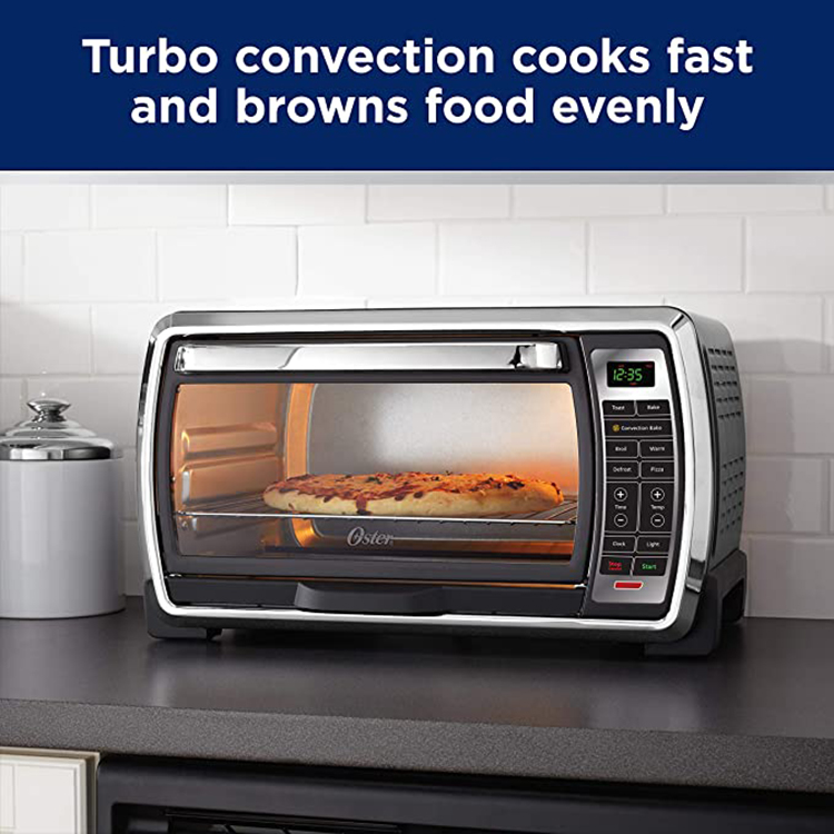 Large 6-slice Capacity Black Digital Convection Polished Stainless Toaster Oven
