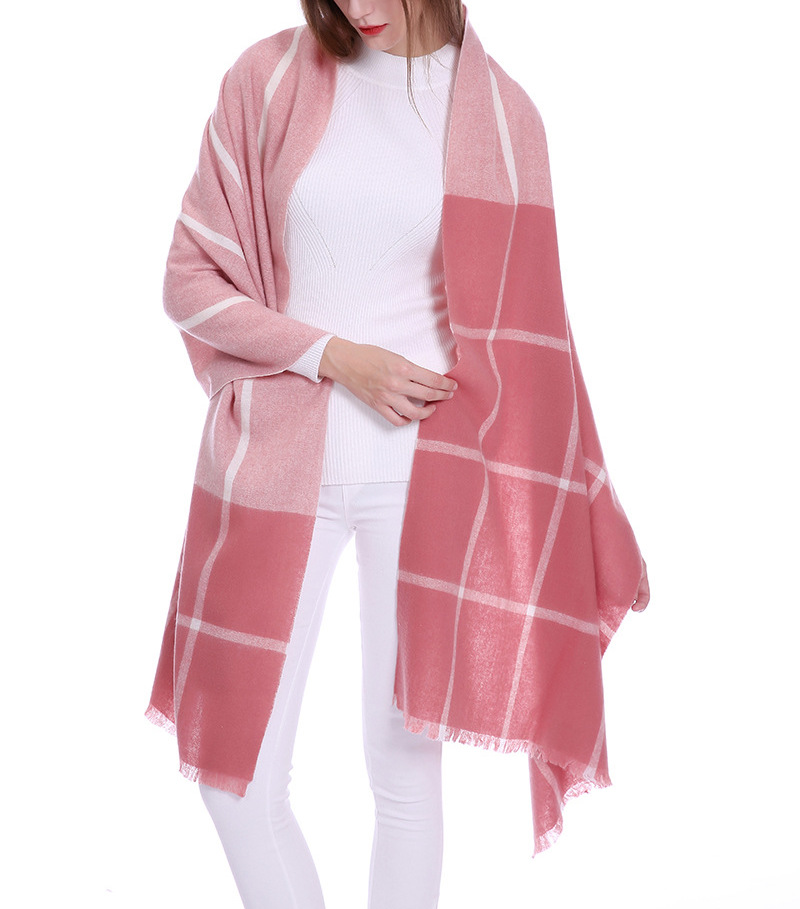 Tong Sheng Wool Cashmere Knitted Blended Scarf Shawl Lamb Wool Plaid Shawl Scarf For Women
