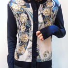 Ladies. Deep Blue Italian Floral Printed Polyester And Silk Casual Fashion Coats For Young Ladies.